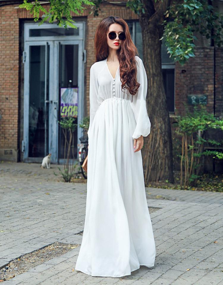Hippie Gypsy Bohemian Bell Sleeve Women Long Lace Dress ...