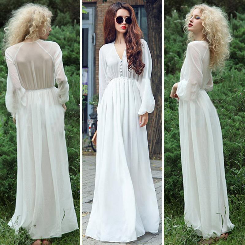 Wedding Dresses With Bell Sleeves: Hippie Gypsy Bohemian Bell Sleeve Women Long Lace Dress