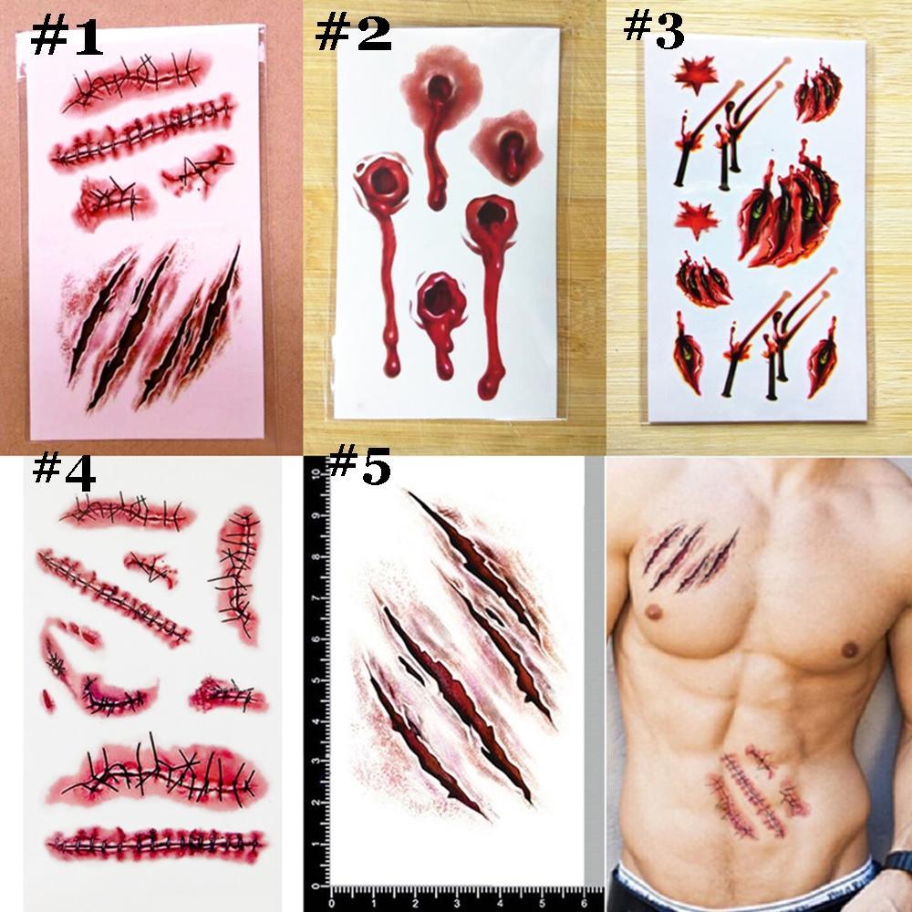 5 10pcs halloween make up fake scar gory wound tatoo for Halloween temporary tattoos
