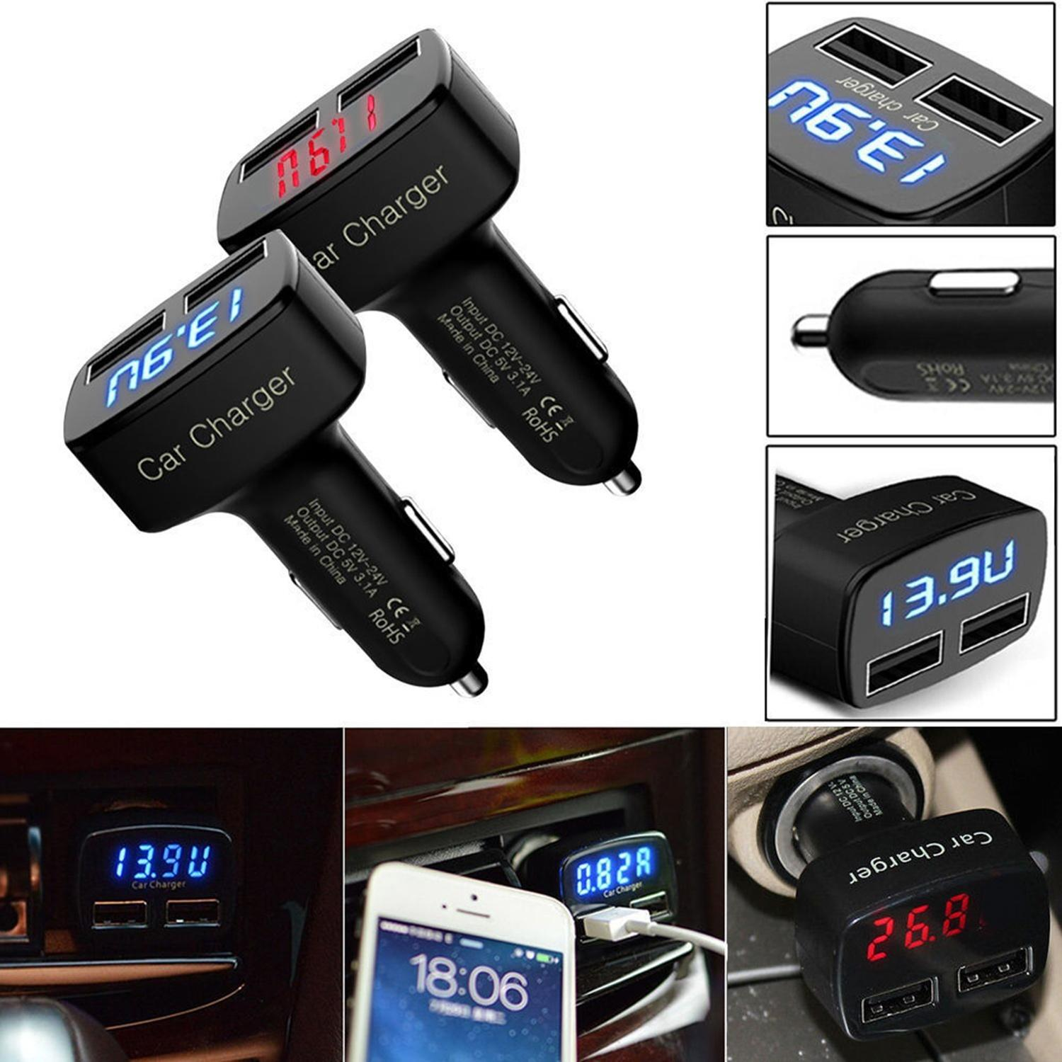 Universal 4in1 Dual USB Car Charger Adapter Voltage 5V/3