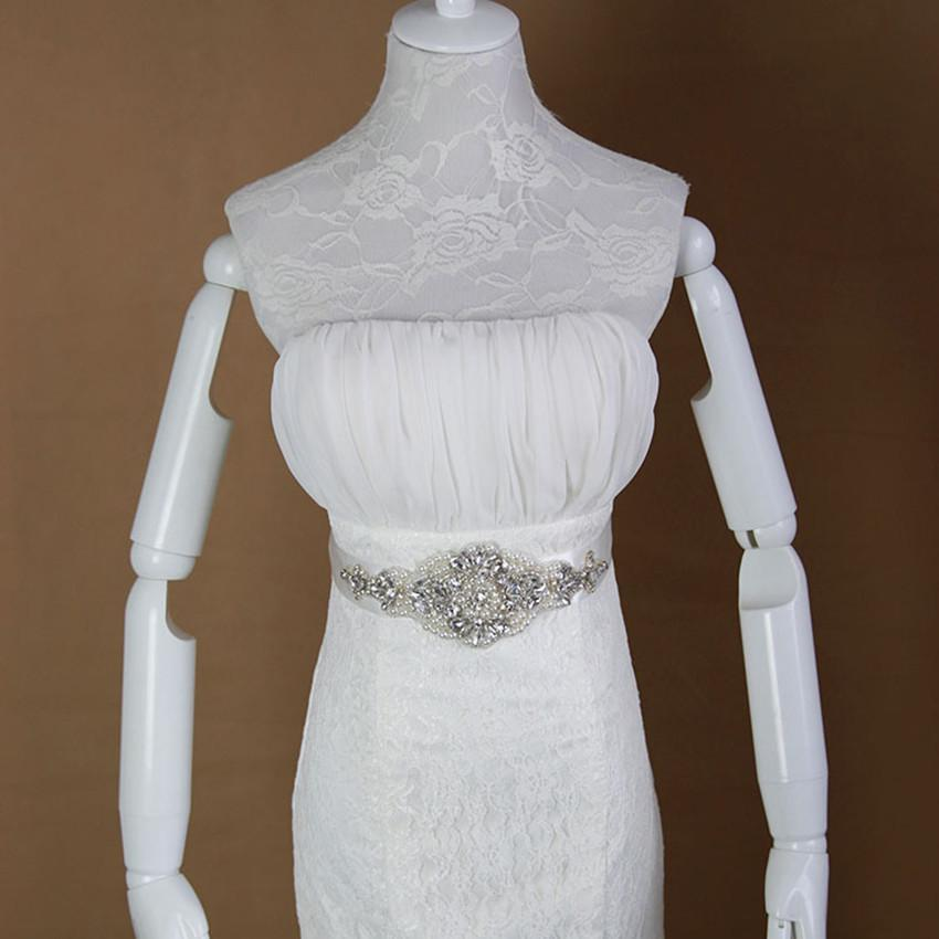 vintage white ivory bridal wedding dress rhinestone sash