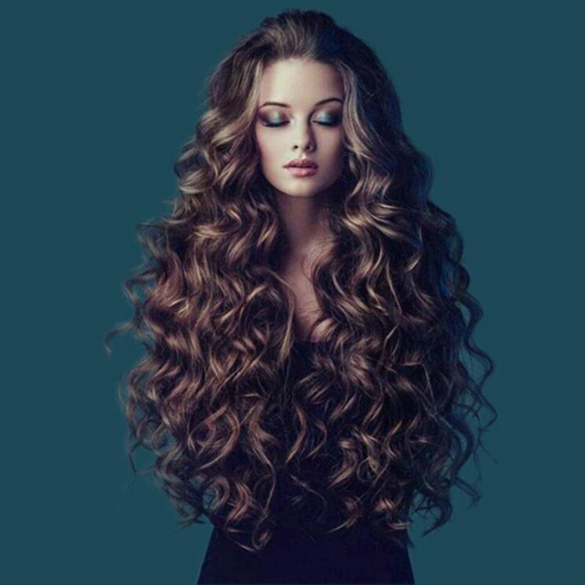 Women Long Hair Curly Wig Long Wavy Ombre Brown Synthetic