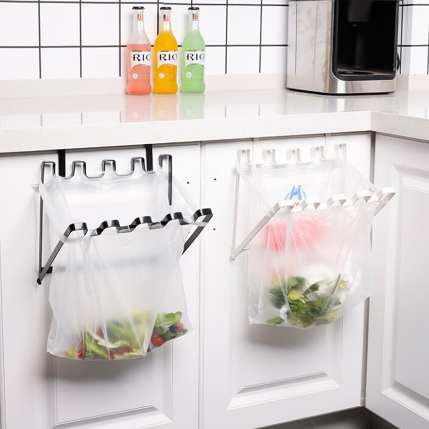 Cabinet Door Garbage Trash Bag Can Box Rack Hanging Holder Kitchen