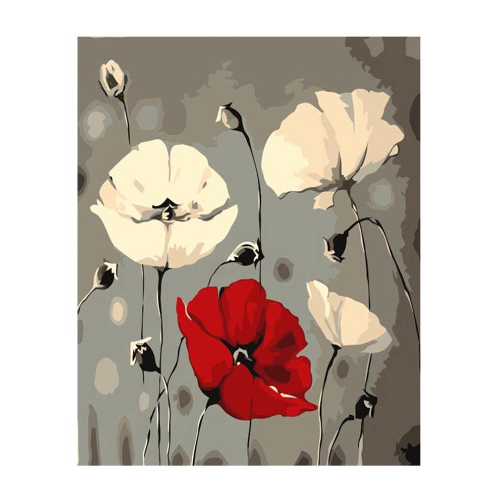 Poppies Paint By Numbers DIY Kit Wildflowers Painting By Number Art Floral Paint By Numbers Canvas Painting By Numbers Painting Kit Hobby Art
