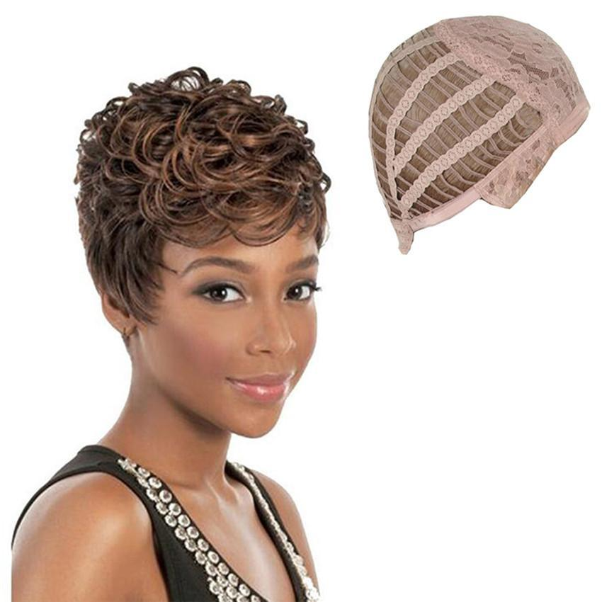 short haircuts wigs wigs fashion wavy curly brown mix 5233 | shotwig403