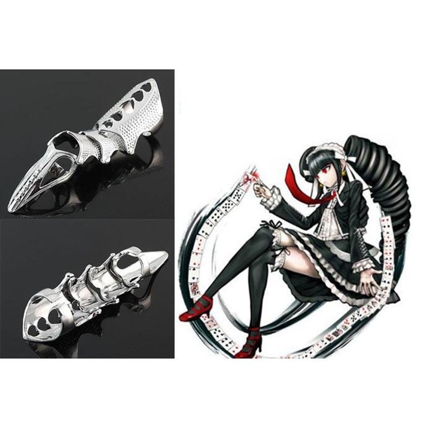 2018 Silver Color Danganronpa Celestia Ludenberg Punk Finger Ring Bone Cosplay