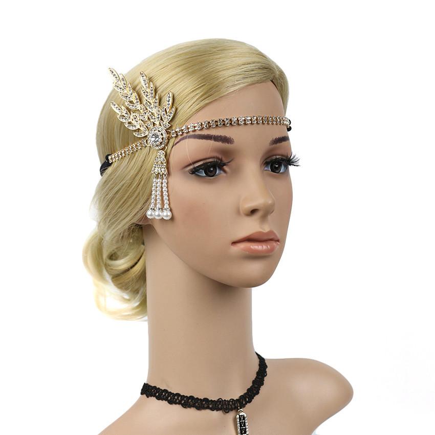 Vintage 20s  Headband Charleston Party Wedding Bridal Rhinestone Costume